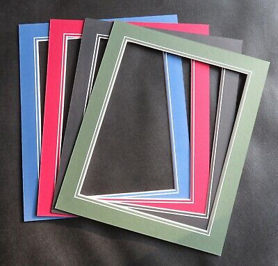 "V Groove Picture Mounts 12"" x 10"" ideal for photos size 10"" x 8"" Various Colours"