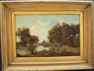 Fine 19th CENTURY CATTLE WATERING IN SUNSET RIVER LANDSCAPEAntique Oil Painting