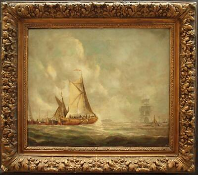 LARGE 19th Century DUTCH SHIPPING IN THE PORT OF AMSTERDAM Antique Oil Painting