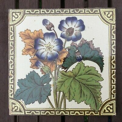 """Late Victorian 6"""" Tile, Printed & Tinted, Floral Print"""