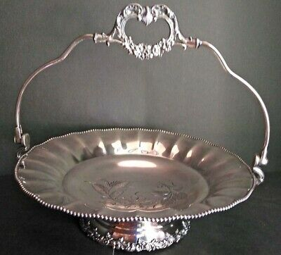 Vintage Brides Silver Plated Basket  Poole Silver Co. With Handle Circa 1960'S