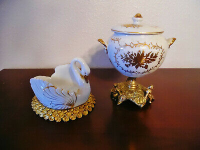 Vintage 2 Pc.ormolu & Porcelain, Putti Pedistal Lidded Bowl & Swan Dish