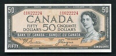 """BC-34b 1954 $50 FIFTY DOLLARS BANK OF CANADA """"DEVIL'S FACE"""" A/H PREFIX ABOUT UNC"""