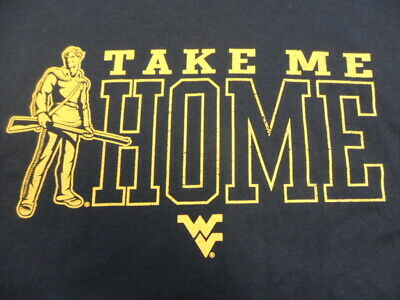 NEW Blue Take Me Home West Virginia Go WVU Mountaineers T-Shirt Large