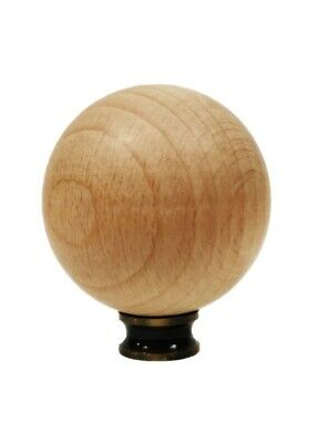 Lamp Finial-SOLID BEECH WOOD BALL-W/Dual Thread Base/4 Plated Finishes-Large-FS