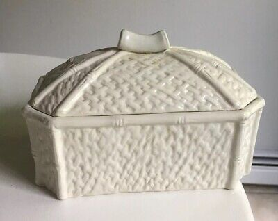 Large Raymor Mancer Mid Century Modern Made in Italy Faux Cane Ceramic Box