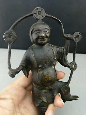 Top Quality 15th - 17th Ming Period Chinese deep carved Bronze Figure - 21cm