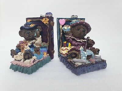 Vintage Teddy Bear Library Books Hand Painted Collector Series Bookends