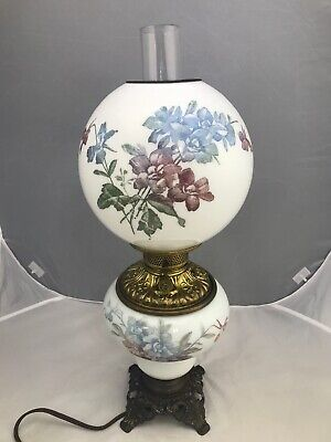 Antique Victorian Banquet Oil Lamp Hand Painted GWTW Gone with the Wind Parlor