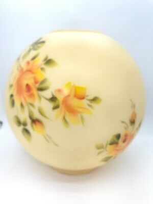 """Ball Shade Globe Banquet Oil Lamp Hand Painted Roses 9"""" Inches"""