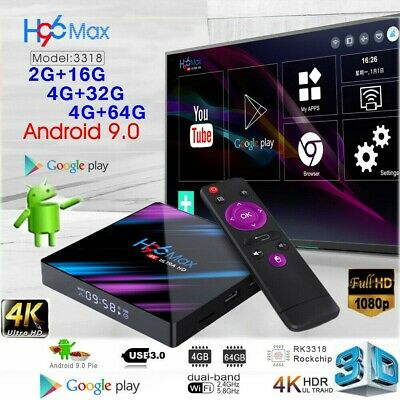 2019 H96 Android 9.0 Smart TV Box 64G Quad Core 4K HD 5.8GHz WiFi Media Player