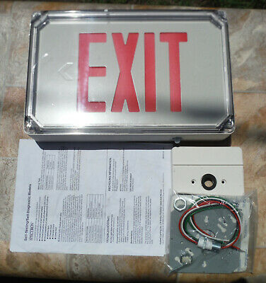 New in  Hubbell Lighting Die Cast Outdoor LED SEWLSRWE-4X Single Face Exit Sign