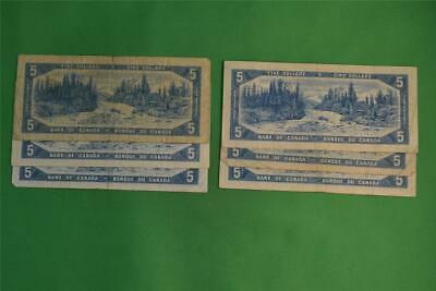 Lot of Six 1954 Bank of Canada Five Dollar Notes Modified Portraits