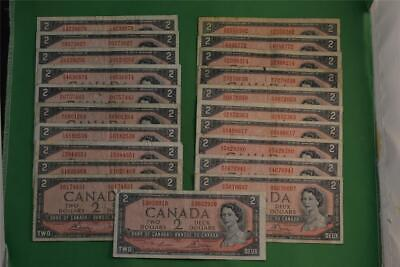 Lot of Twenty One 1954 Bank of Canada Two Dollar Notes Modified Portraits