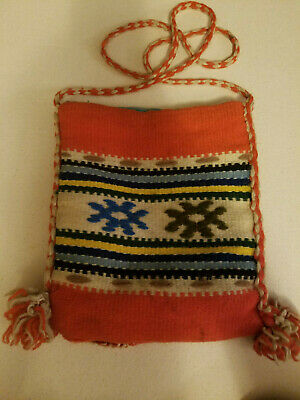 Vintage Peruvian GREEK HANDMADE Woven Purse SHOULDER BAG Boho Hippy Tribal