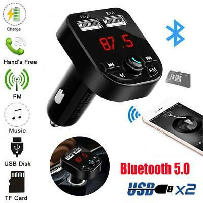 Wireless FM Transmitter Bluetooth 5.0 Audio MP3 Player Dual USB Charger Car Kit
