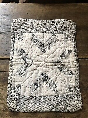 Antique Handmade Entire Back BLUE HOMESPUN Large Doll Child's Quilt Textile AAFA