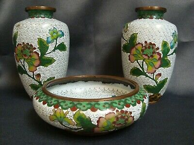 Antique Chinese Cloisonne Pair of Vases and Bowl Set Republic Period Marked