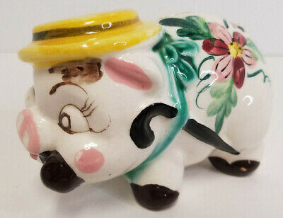 Vintage Porcelain Ceramic Piggy Bank Hat Smoking Cigar Japan Handpainted