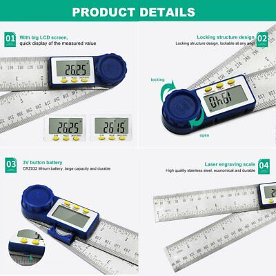 200MM Digital Protractor Inclinometer Goniometer Electronic Angle Gauge Ruler TA