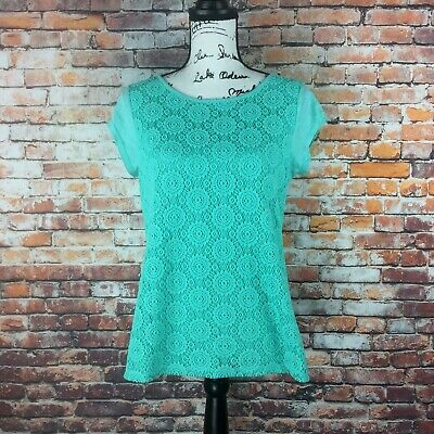 Liz Claiborne Womens Size Medium Petite Light Green Lace Front Blouse Top