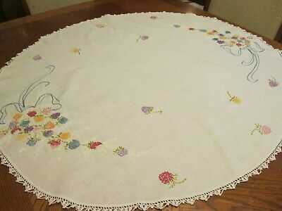 "Vintage White Cotton Oval Tablecloth - Embroidered Flowers & Ribbons  38"" x 34"""