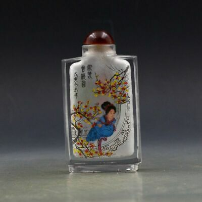 Large Antique Chinese Glass Intemal Hand-painted Woman Snuff Bottles X08