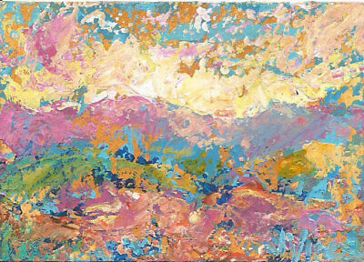 Original Abstract Acrylic Knife Sunset Mountain Landscape Painting ACEO ART mini