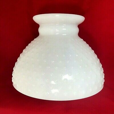 Vintage White Milk Glass Hobnail Top Cover Oil Kerosene Lamp Light Shade 8""