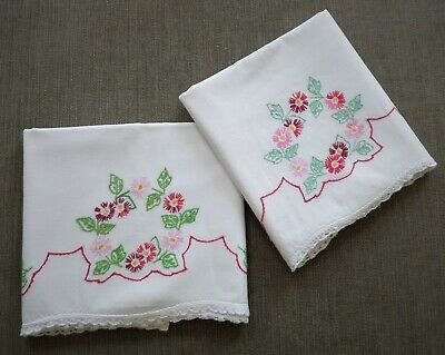 Set of 2 Vintage Embroidered Cotton Pillow Cases - Red/Pink Floral/Crochet Trim
