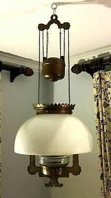 Antique Victorian Rise and Fall Hanging Oil Lamp with Stamped Brass, Heavy Weigh