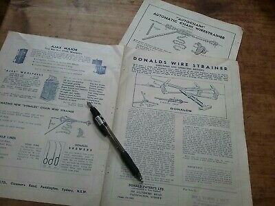 Donalds Wire Strainer instructions  catalogue brochure Old Original