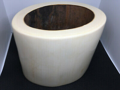 1.3kg Rare Chinese Brush Pot With Sandlewood Base Canton Chinese Export Antique