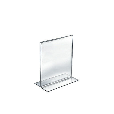 Acrylic Double-Foot Two Sided Sign Holder 5.5W x 8.5H Inches - Lot of 10