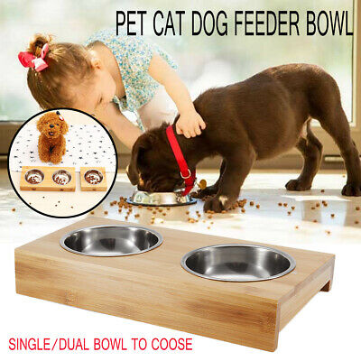 Double Bowls Raised Stand Cat Pet Dogs Puppy Non Slip Splash Feeder Food Bowl