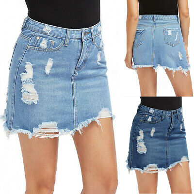 7bfa1059090f DE DAMEN MODE Destroyed Jeans Kurz Rock Bleistiftröcke Sommer ...