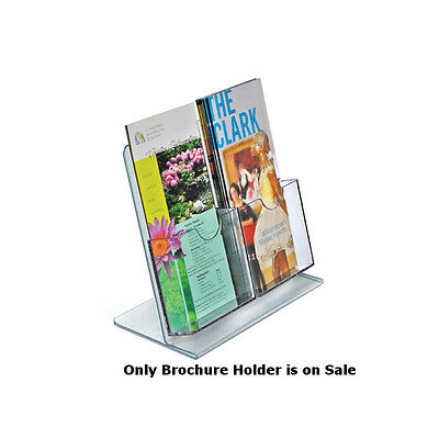 Crystal Styrene 2 Pocket Brochure Holder in Clear 9W x 8.5H Inches - Box of 2