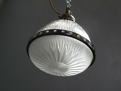 Small Antique Vintage Two Part Holophane Glass Pendant Light Lamp Industrial