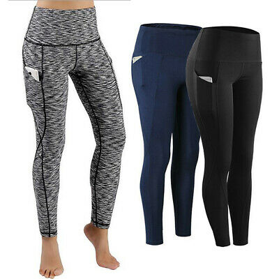 Womens High Waist Yoga Pants With Pocket Sports Leggings Fitness Gym Trousers AU