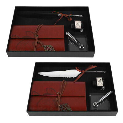 Antique Feather Quill Dip Pen Notebook Writing Ink Set Calligraphy Gift +Box SS