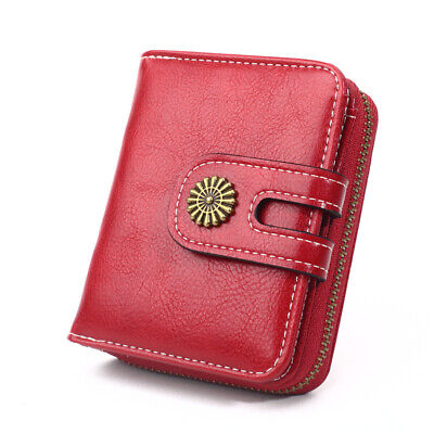 Women's Compact Bifold Wallet Mini Coin Purse Credit Card Holder Soft PU Leather