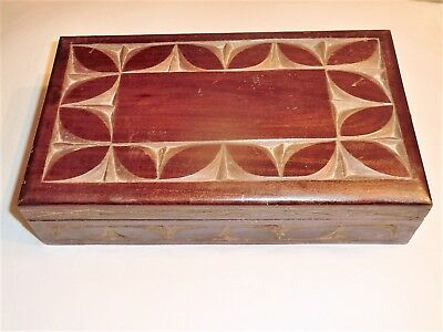 Large Antique Wooden Box With Compartments Engraved Tulip Leaf? Design