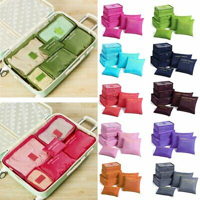 6PCS Travel Packing Cube Pouch Suitcase Luggage Organizer Clothes Storage Bags