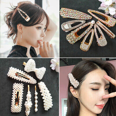 Women Girl Pearl Hair Clip Snap Barrette Stick Hairpin Hair Accessories Party1pc