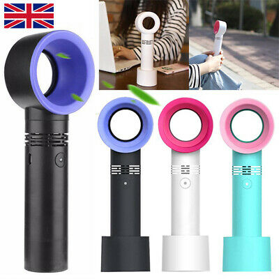 "360 Degrees Portable Bladeless Hand Held Cooler Mini USB No Leaf Handy Fan ""New"""
