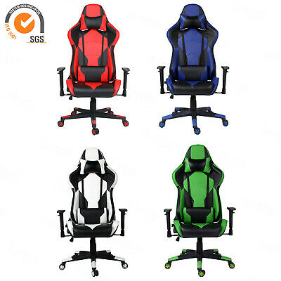 Executive Racing Gaming Swivel Leather Sport Computer Desk Office Chair Recliner