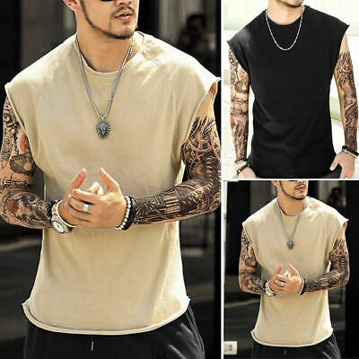 UK Mens Vest Summer Casual Training Gym Sleeveless Tank Muscle Sport Tops Shirt