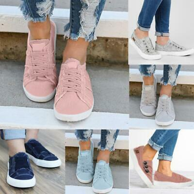 Womens Slip On Canvas Trainers Ladies Casual Comfy Loafers Plimsolls Pumps Shoes