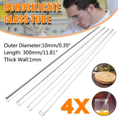 4Pcs 300mm 10mm 1mm Thick Wall Borosilicate Glass Blowing Tube Lab School Tubing