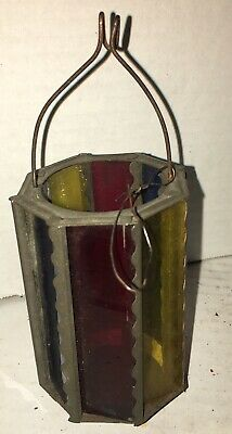 Antique Stain Glass Christmas Tree Candle Lantern Skater